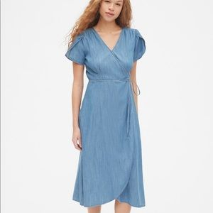 GAP Short Sleeve Midi Wrap Dress in TENCEL